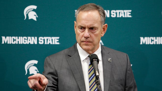 Michigan State football coach Mark Dantonio addresses the media about the school's handling of sexual abuse allegations, before an NCAA college basketball game between Michigan State and Wisconsin, Friday, Jan. 26, 2018, in East Lansing, Mich.