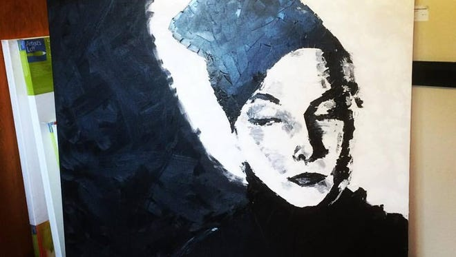 A young Katherine Hepburn, in oil, by Matthew Jacobson.