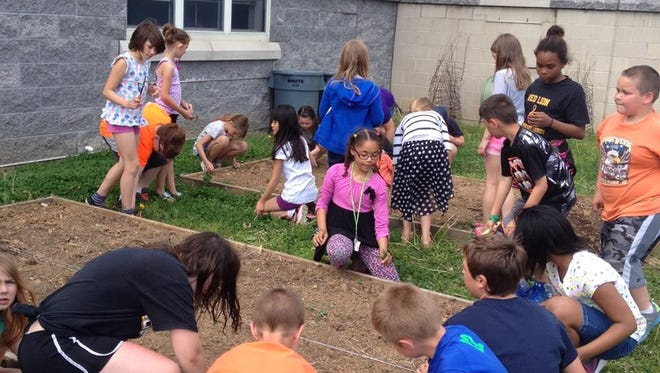 Students working in the garden boxes in Mazie Gable's outdoor classroom.
