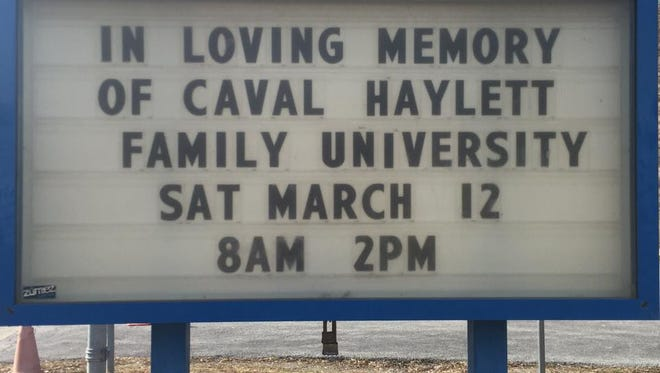 Poughkeepsie Middle School sign in memory of Caval Haylett Jr., who was shot dead Wednesday, March 9, 2016.