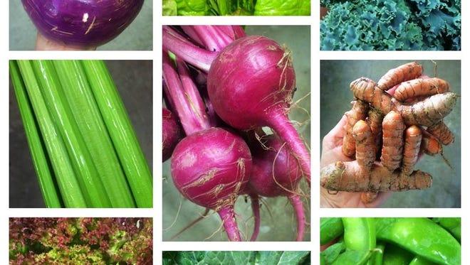Red Hills Online Market vegetable collage.