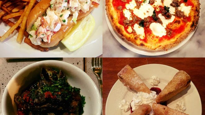 Four dishes from the lohudfood crawl in Harrison: a lobster roll at Gus's Franklin Park, wood-fired pizza at Porta Napoli, organic pork four ways at 273 Kitchen and fried cheesecake at The Craftsman Ale House.