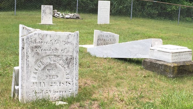 The Vreeland  Family Burying Ground, original resting place of Michael Vreeland, a Revolutionary Patriot, in Flatrock was vandalized recently.   Lesley Gilliland Harkai