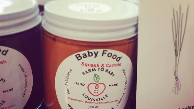 Farm To Baby organic baby food is available in Louisville farmers markets and at Rainbow Blossom Natural Foods.