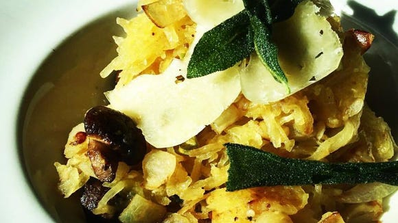 """Roasted Spaghetti Squash """"Pasta"""" is another new dish on Harvest's fall menu. It dish features roasted cremini mushrooms, fresh sage, toasted pistachios, garlic, truffle oil and freshly grated DeGlae Farm's Lanchego cheese over roasted spaghetti squash, which acts as the pasta."""