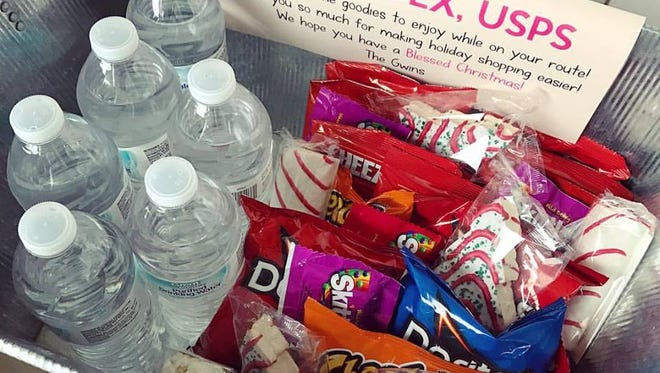 The photo of Lisa Gwin's care basket has been shared on facebook nearly 150,000 times.