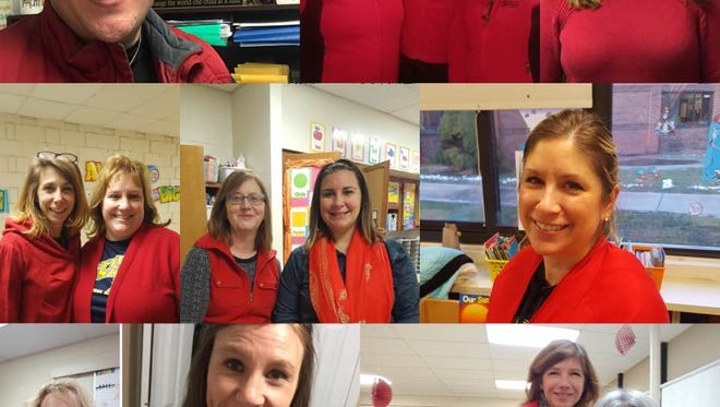 Port Huron teachers wearing red for education to protest the confirmation of Betsy DeVos as education secretary