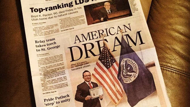 A photo of a July 2015 edition of The Spectrum & Daily news adorns David Araque's Facebook page. The St. George resident became a U.S. citizen more than a decade after legally immigrating to Utah from his native Ecuador.