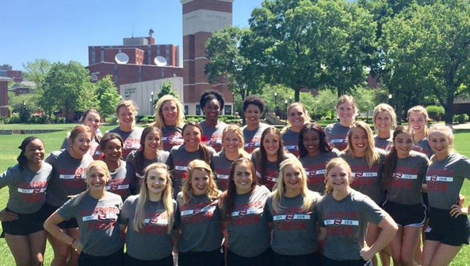 2017-2018 WKU All Girl Cheerleading Team  Congratulations to Tiara Moore (2nd row, far left), who will continue for her 3rd year with WKU Cheerleading during the 2017-18 season. Tiara is a 2015 graduate of UCHS. She cheered under the direction of Lori Watson of the Y All-Stars for 10 years, Harvi Curtis of UCHS Cheer for 5 years, and now under the direction of WKU Coaches, Joshua and Lori Bewley, and Joni Hall (also a UC Native).  WKU Cheerleading finished 3rd at UCA Nationals in 2016 and 4th in 2017 at Walt Disney World in Orlando, FL.
