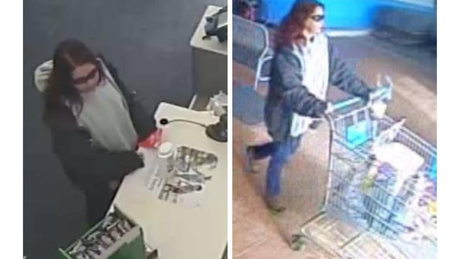 Surveillance video captured images of a woman using a stolen credit card at Walgreens in Mims and Walmart in New Smyrna Beach.