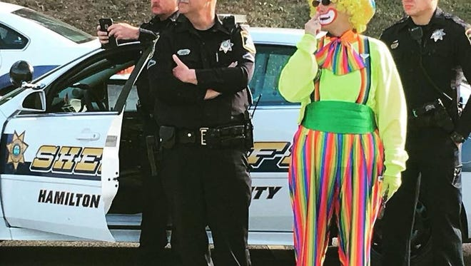 """This January 2018 picture on the Hamilton County Sheriff's Department's Facebook page notes, """"You never know what you will see or who you will meet while responding to a call. All in a day's work."""" The department will be filmed this month for potential episodes of the TV show """"Cops."""""""
