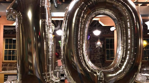 Queen City Bakery decorated to celebrate ten years in downtown Sioux Falls.