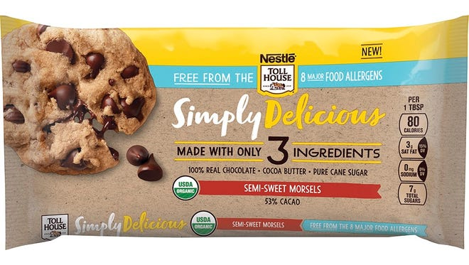 """The new three-ingredient chocolate chips include """"cocoa butter, pure cane sugar and 100% real chocolate."""" They're also free of the eight major food allergens."""