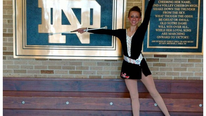 Granville graduate Olivia Ebersole is shown at Notre Dame University in July of 2017, after competing in the America's Youth On Parade national baton twirling competition.
