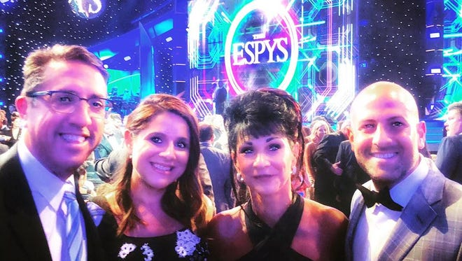 L-r, Andrew Abood, Rosemarie Aquilina's daughter, Judge Rosemarie Aquilina and attorney Jeffrey Abood at The ESPYS.