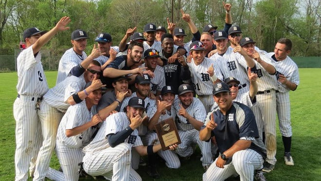 Westchester Community College's baseball team celebrates after winning the East District title on Monday.