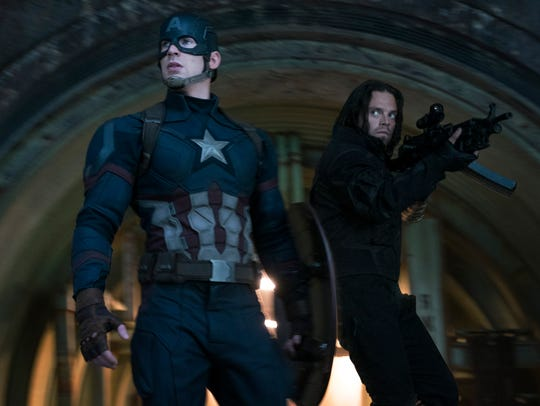 Captain America (Chris Evans) and Winter Soldier (Sebastian
