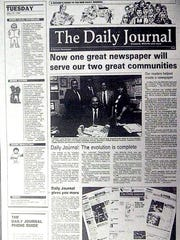 A readers guide supplement to the first edition of The Daily Journal, combining the Vineland Times Journal and The Millville Daily, May 1988.