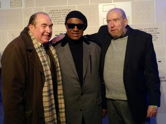 Clarence Wayne, left, Stevie Wonder and Larry Wayne.