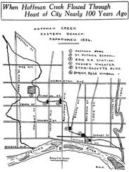 A map of the east branch of Hoffman Creek before 1836.