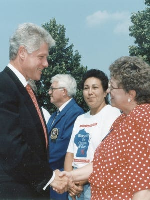 Kathy Groat meets President Bill Clinton at a campaign stop in De Pere during the former president's 1996 re-election campaign.