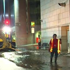 A water main break in downtown Dallas flooded the basement of the Criswell Center at First Baptist Church Dallas on September 20, 2014.