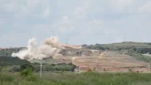 Screen shot from Texas Department of Transportation video shows a scheduled blast at Ranger Hill at the Interstate 20 construction site on Tuesday, Sept. 19, 2017.