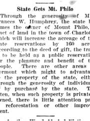 Newspaper notice announces the transfer of Mount Philo to state ownership. News and Citizen, Oct. 24, 1924.