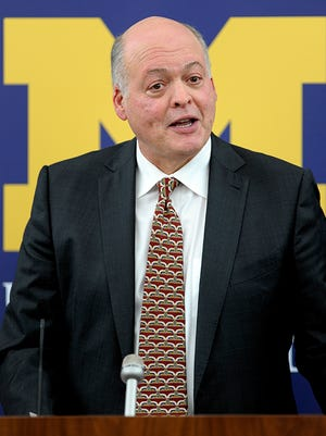 Jim Hackett speaks during Friday's press conference.
