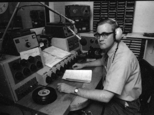 Jim Douglas, broadcasting from WRMC-FM, the Middlebury College radio station, during his college years, 1968-72. Note the tie, which wasn't typical college attire. This photo appears in the former governor's new political memoir.