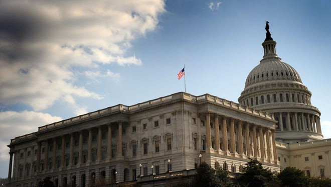 The U.S. Senate building and the U.S. Capitol.