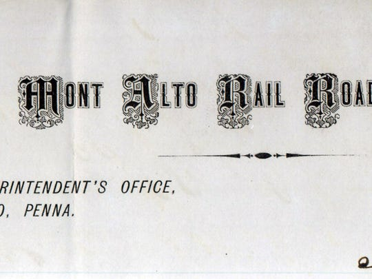 An 1874 letter from George B. Wiestling of the Mont Alto Railroad.