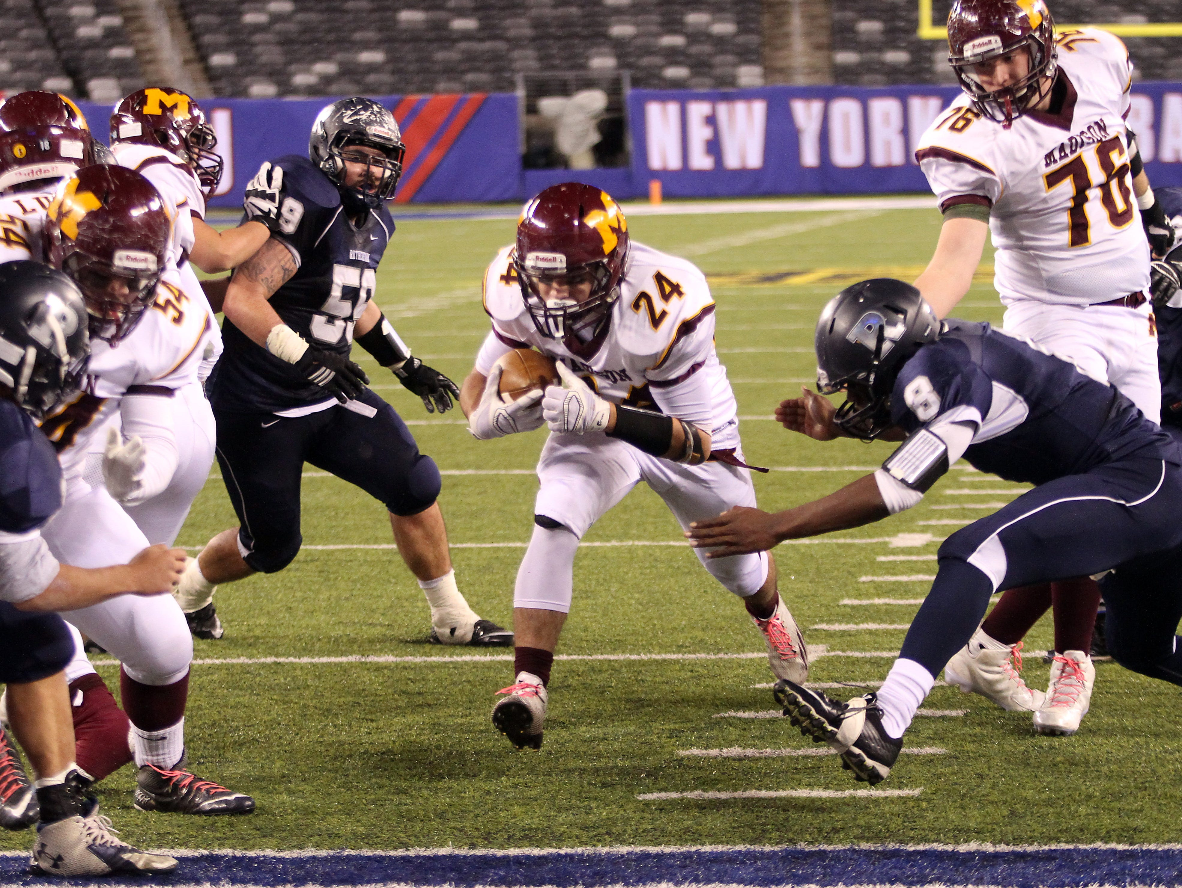 Madison's P.J. Mulcahy heads into the end zone vs. Rutherford in the second half during the North 2, Group 2 NJSIAA football Championship at MetLife Stadium. Madison won 27-6. December 3, 2015, East Rutherford, NJ.