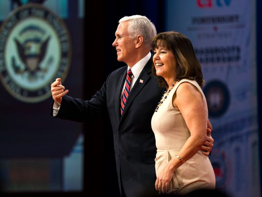 US Vice President Mike Pence greets Second Lady Karen