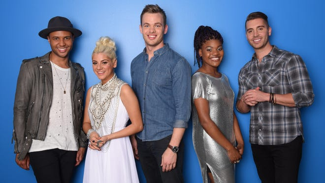 "Rayvon Owen, left, Jax, Clark Beckham, Tyanna Jones and Nick Fradiani made the Top 5 on ""American Idol"" this year. Their tour hits Ryman Auditorium on Friday."