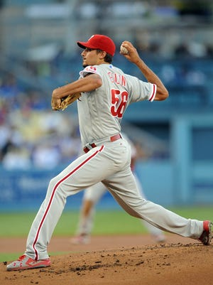 Philadelphia Phillies starting pitcher Zach Eflin throws in the first inning against the Los Angeles Dodgers at Dodger Stadium. Eflin, who allowed seven runs in the loss, went on the disabled list Tuesday.