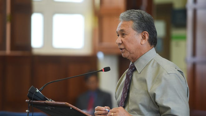Sen. Tom Ada raises concerns on Bill No. 145-34 (COR) during a legislative session at the Guam Congress Building in Hagåtña on April 30, 2018.