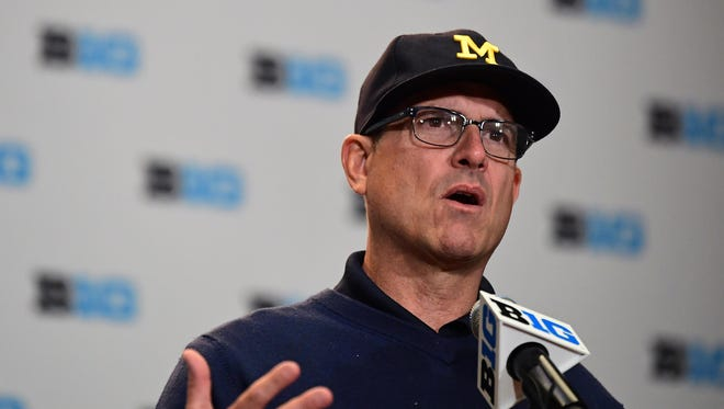 Jul 25, 2017; Chicago, IL, USA; Michigan head coach Jim Harbaugh addresses the media during the Big Ten football media day at Hyatt Regency McCormick Place.