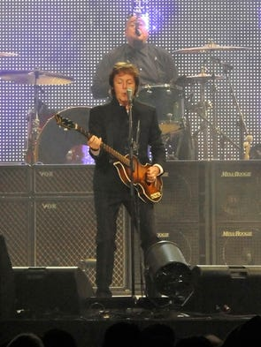 Paul McCartney is performing for the packed crowd during his concert at Bridgestone Arena July 26, 2010.