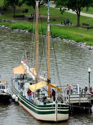 The schooner Lois McClure docked at Waryas Park in the City of Poughkeepsie on Tuesday. Visitors were able to tour the replica of an 1862-class sailing canal boat commemorating the War of 1812  bicentennial.