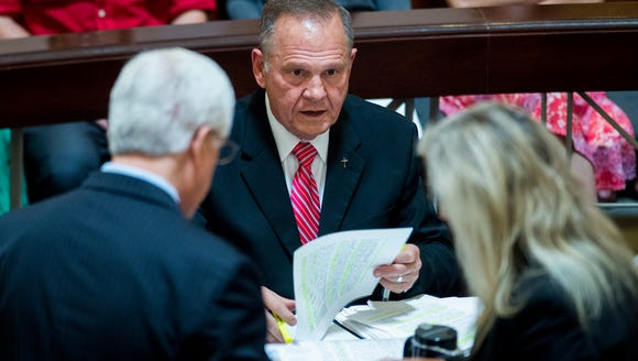 Roy Moore prepares for his hearing before the Court