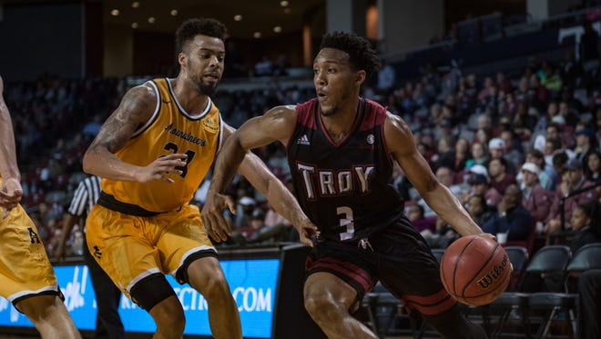 Troy's Wesley Person, after a three-point first half, finished with a team-high 16 in Monday's win over Appalachian State. He's 11 points from becoming the school's all-time leading scorer.