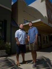 Tim Goff, left, and Justin O'Brien, stand in front