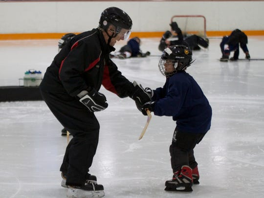 Your child should feel comfortable on ice skates before playing.