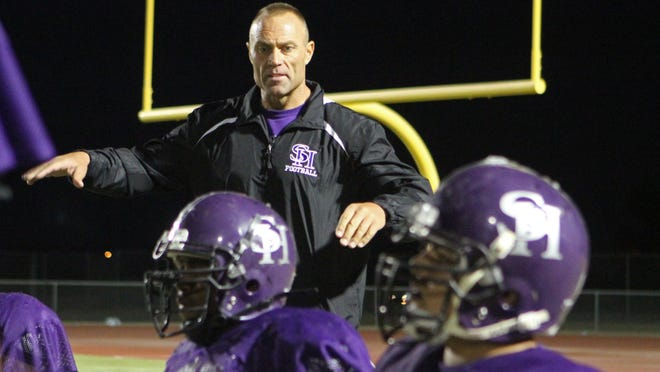 Shadow Hills High School football coach Ron Shipley, seen here talking to his troops in 2012, has this year's squad undefeated in De Anza League play. The Knights host also unbeaten Big Bear on Friday night.