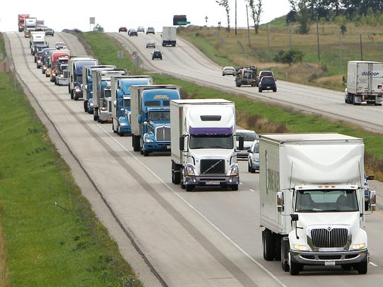 The Special Olympics World'??s Largest Truck Convoy traveled from West Bend onto State Hwy 41 to Oshkosh.
