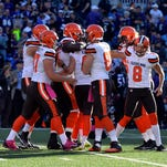 The Cleveland Browns celebrate kicker Travis Coons (6) game-winning field goal in overtime against the Baltimore Ravens at M&T Bank Stadium.
