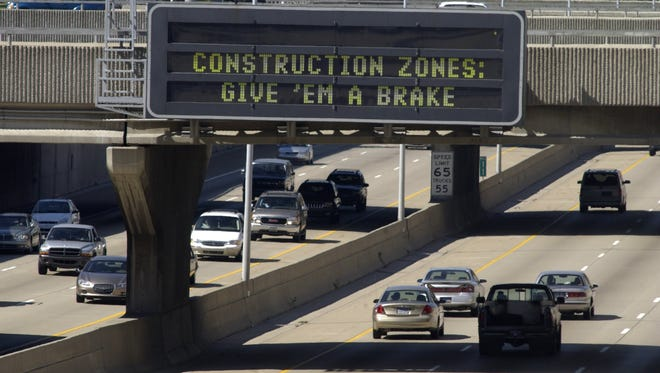 Electronic construction zone sign.