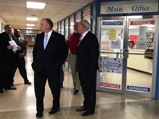 New Jersey State President Stephen M. Sweeney tours Pennsauken High School, his alma mater, to talk about the school funding formula.