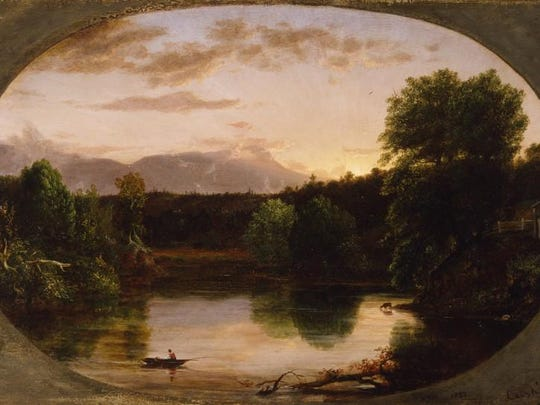 Thomas Cole (1801-1848), Sunset, View on the Catskill, 1833, Oil on wood panel. New-York Historical Society Museum & Library, gift of The New-York Gallery of the Fine Arts.